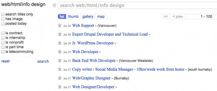 Craigstlistという老舗のクラシファイドサイトのWebデザイナーの求人一覧。利用者数も多く、求人は毎日の様に更新されている。